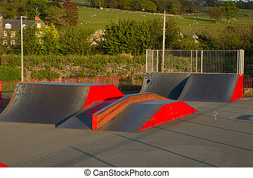 skatepark ramps - An outdoor skatepark with variuos ramps...