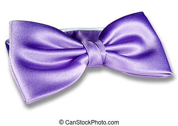 Bow-tie - Close-up of purple bow-tie isolated on white...
