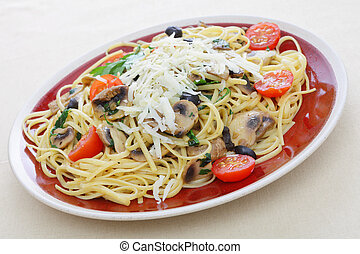Liguine and mushroom pasta from above