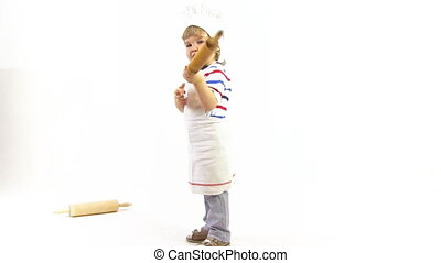 young cook - young boy with rolling-pin