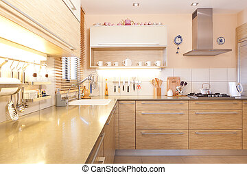 New kitchen in a modern home - Luxury kitchen with marble...