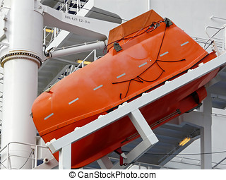 Freefall lifeboat on a container-ship - Some ships have...