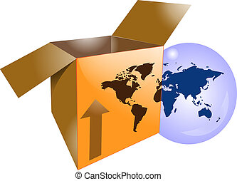 Cardboard shipping box with word map for international shipping