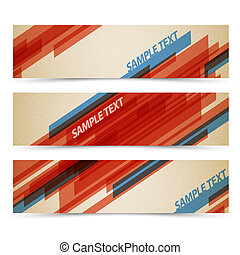 Set of retro horizontal banners - with stripes and place for...