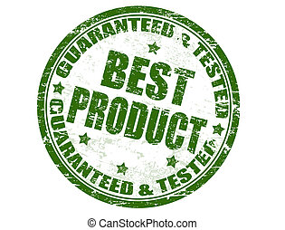 Guaranteed and tested - best product stamp - Grunge rubber...