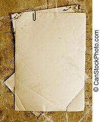 vendange, fond, vieux, papier, lettres, photos