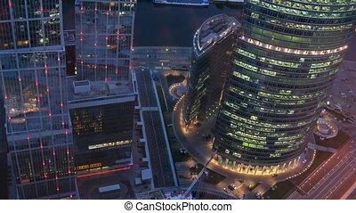 In business-center Naberezhnaya Tower visible light in windows