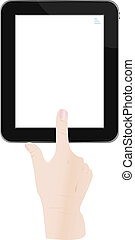 hand holding a touchpad pc, one finger touches the touchpad