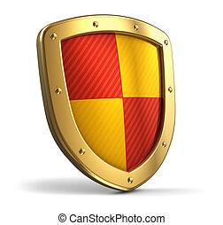 Golden shield - Golden protection shield isolated on white...