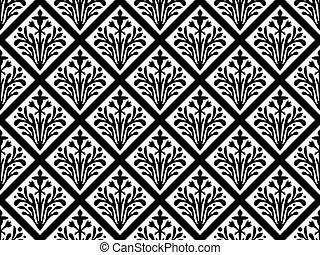 Seamless geometrical gothic floral vector ornament