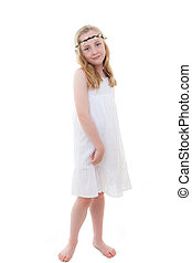 summer child - cute little girl in white summer dress