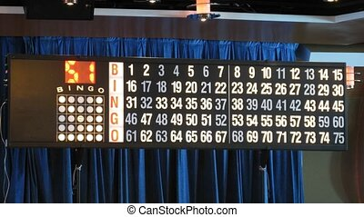 Display with blinking numbers during bingo game