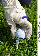 Placing golf ball on a tee
