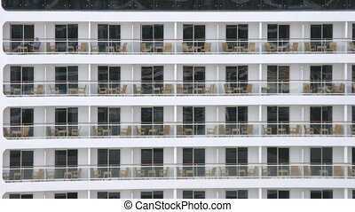Empty balconies of cruise liner at day, time lapse