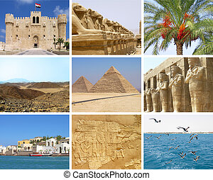 Egypt travel collage with nine photos of Giza, Alexandria,...
