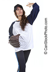 Woman Baseball or Softball Player P - Woman baseball or...