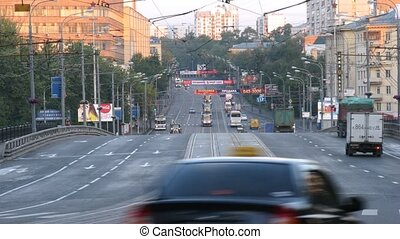 Vehicle traffic at morning in Preobrazhenskoye District