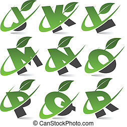Swoosh Green Alphabet Set 2 - Set of alphabet with green...