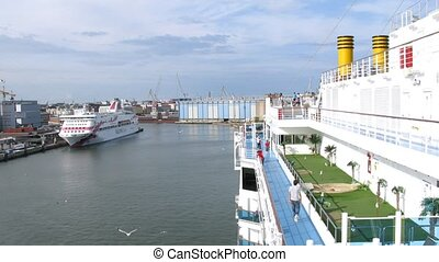 Port in Helsinki, panoramic view from cruise liner deck,...