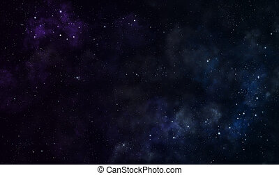 Nebulae - Blue and purple nebulae in deep space