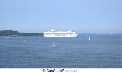 Silja Line cruise liner pass by - HELSINKI, FINLAND - JUNE...