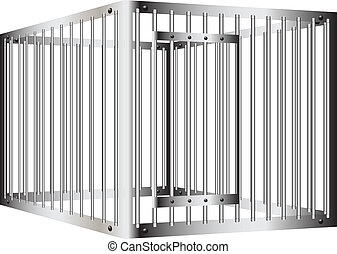 Prison bar - Cage with steel bars with a door. Vector...