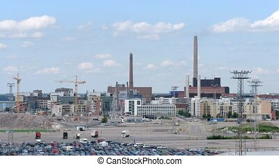Big factory in Helsinki on sunny day, time lapse - Big...