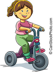 Girl Riding Tricyle - cartoon illustration of girl riding...