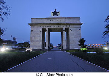 Independence Arch at Dusk, Accra, Ghana