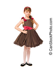 Cute little lady in a brown dress Isolated
