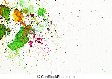 Abstract water-color hand painting on white paper background...