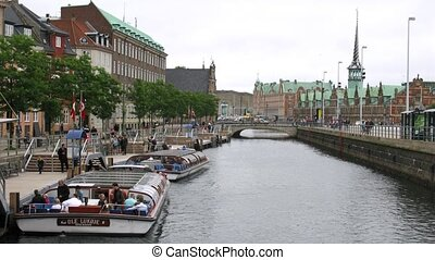 Excursion motorboats at Holmen - COPENHAGEN, DENMARK - JUL...
