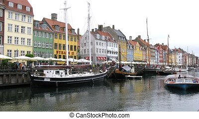 Ship traffic at Nyhavn canal - COPENHAGEN, DENMARK - JULY...