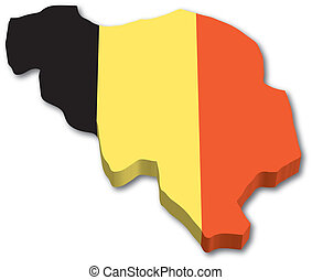 3D Belgium map with flag illustration on white background