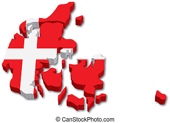 3D Denmark map with flag illustration on white background