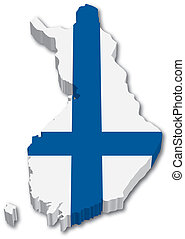 3D Finland map with flag illustration on white background