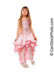 Cute little girl in a pink dress