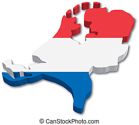 3D Holland map with flag illustration on white background