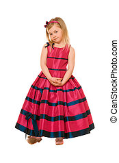 little blond girl in a long dress