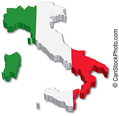 3D Italy map with flag illustration on white background