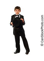 Little boy in tuxedo with a hat