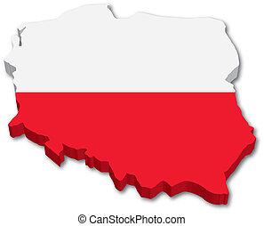 3D Poland map with flag