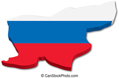 3D Slovenia map with flag