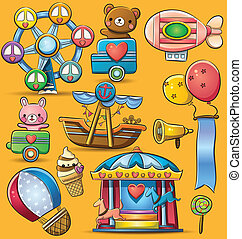 Carnival Theme Park - cartoon illustration of fun carnival...