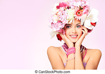 natural line - Portrait of a beautiful spring girl wearing...