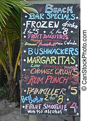Colourful Beach Bar menu - A colourful beach bar menu...