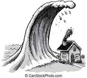 Tsunami House - A giant cartoon wave is about to swamp a...