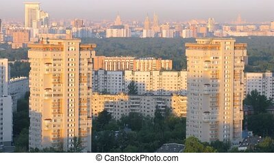 Sunrise in Moscow city, time lapse - Sunrise in Moscow city,...