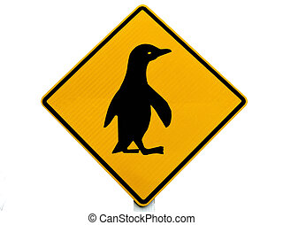 Attention Blue Penguin Crossing Road Sign - New Zealand Road...