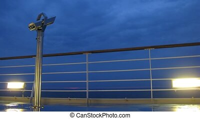 Binoculars on board of cruise liner, time lapse - Binoculars...